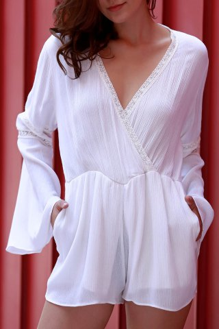 Chic Stylish Plunging Neck Long Flare Sleeve White Women's Romper