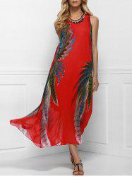Women's Bohemian Style Red Print Sleeveless Scoop Neck Dress - RED