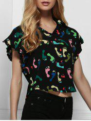 Stylish Shirt Collar Short Sleeve Printed Chiffon Shirt For Women