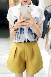 Chic Shirt Collar Short Sleeve Figure Print Shirt + Solid Color Shorts Women's Twinset -