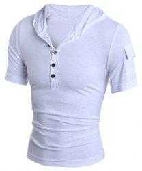 Hooded Button Embellished Short Sleeve T-Shirt For Men - WHITE