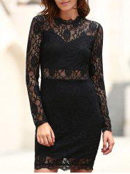 Sexy Stand Collar Long Sleeve Solid Color Women's Lace Dress -