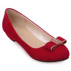Elegant Bow and Suede Design Flat Shoes For Women -