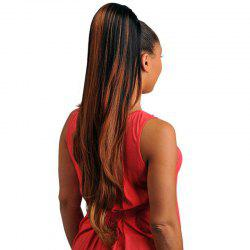Trendy Black Brown Mixed Synthetic Fluffy Natural Wavy Long Drawstring Ponytail For Women -