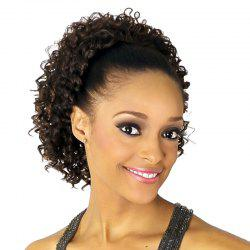 Fluffy Short Curly Fashion Dark Brown Heat Resistant Fiber Ponytail For Women -