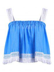 Women's Stylish Spaghetti Strap Lace Tassles Crop Top - BLUE AND WHITE L