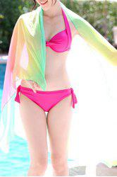 Cute Halter Colored Three-Piece Swimsuit For Women -