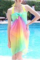 Cute Halter Colored Three-Piece Swimsuit For Women