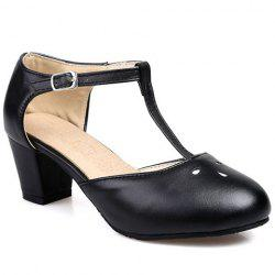 Preppy Style T-Strap and PU Leather Design Pumps For Women -