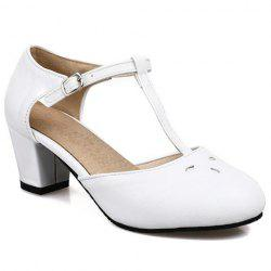 Preppy Style T-Strap and PU Leather Design Pumps For Women