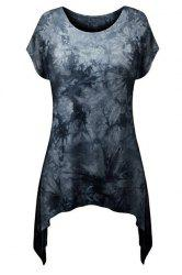 Stylish Round Neck Short Sleeve Printed Asymmetrical T-Shirt For Women