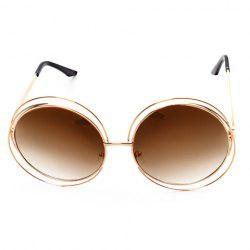 Chic Hollow Out Golden Round Frame Sunglasses For Women -