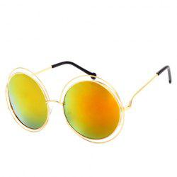 Chic Hollow Out Golden Round Frame Sunglasses For Women - YELLOW