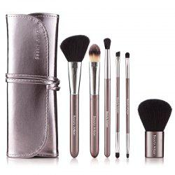 Stylish 6 Pcs Fiber Makeup Brushes Set with Binding PU Brush Bag