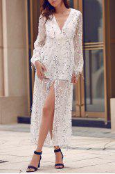 Plunge Long Sleeve Sequin Slit Prom Maxi Dress