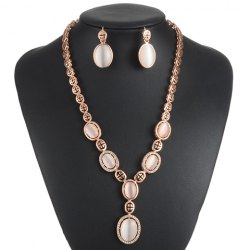 A Suit of Graceful Faux Opal Oval Necklace and Earrings For Women