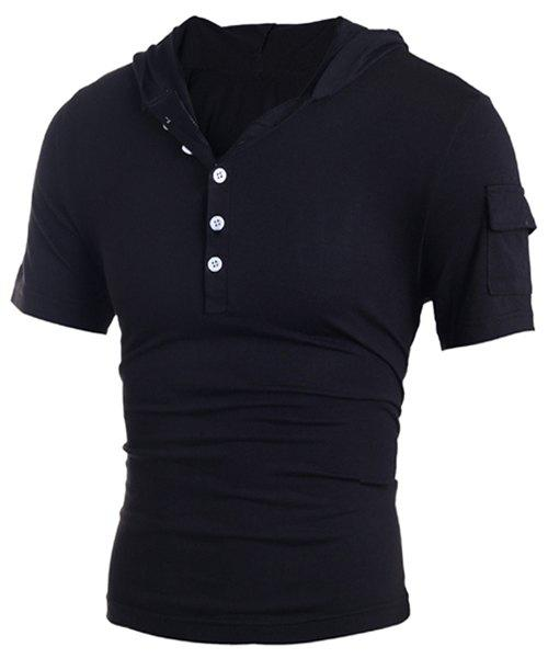 New Hooded Button Embellished Short Sleeve T-Shirt For Men