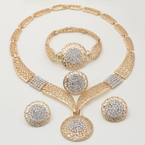 A Suit of Alloy Rhinestone Round Necklace Bracelet Earrings and RingJEWELRY<br><br>Size: ONE-SIZE; Color: GOLDEN; Item Type: Pendant Necklace; Gender: For Women; Material: Rhinestone; Metal Type: Alloy; Style: Romantic; Shape/Pattern: Geometric; Length: 45CM(Necklace)/2.7CM(Earring)/18CM(Bracelet)/1.8CM(Ring); Weight: 0.100kg; Package Contents: 1 x Necklace 1 x Earring(Pair) 1 x Bracelet 1 x Ring;