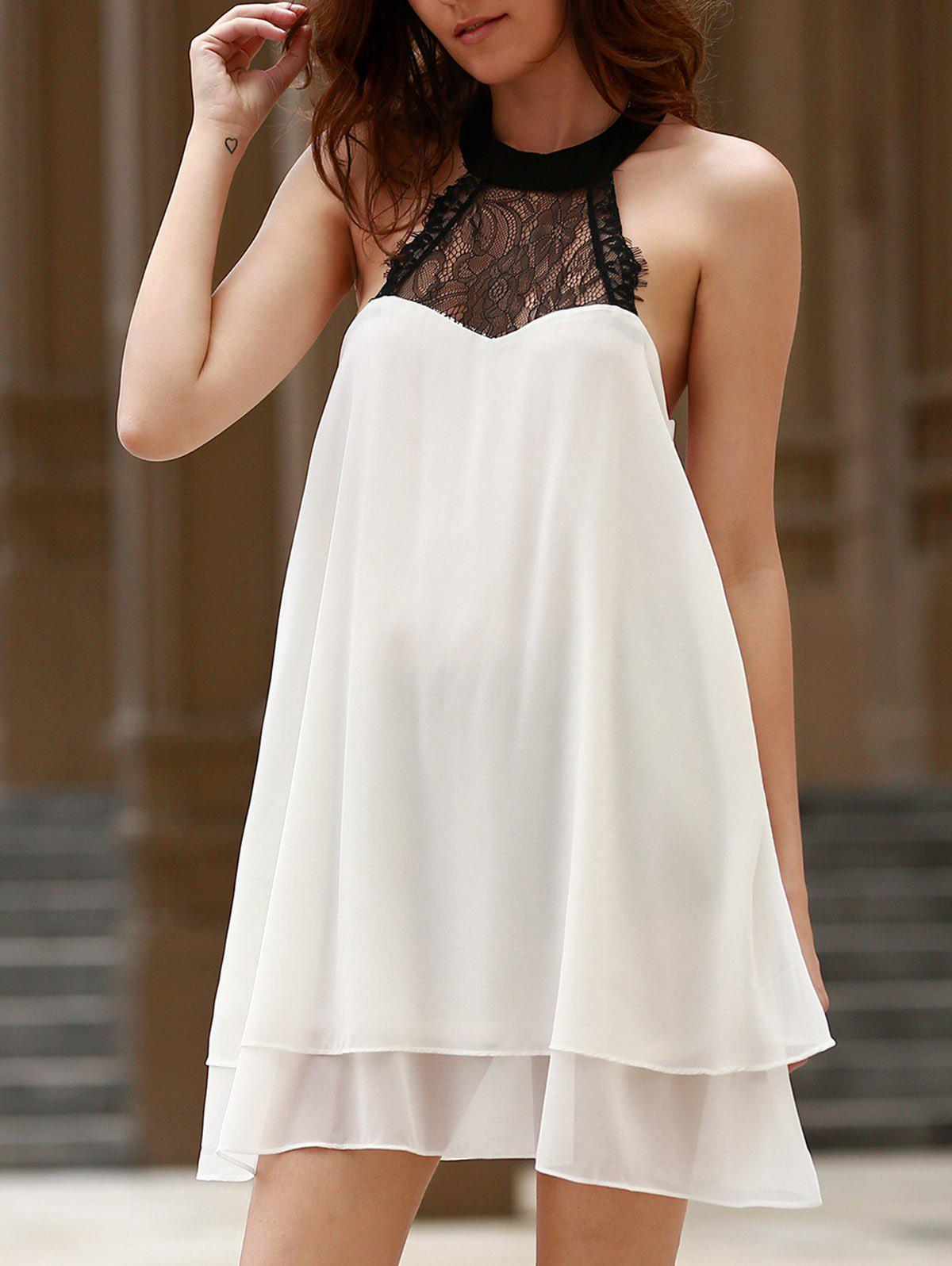 Stand Collar Dress Designs : Sexy stand up collar sleeveless lace spliced bowknot