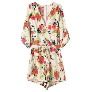Zip Back Floral Romper with Sleeves