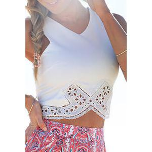 Cut Out Crop Tank Top - White - M