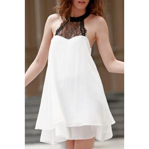 Fashion Halter Lace Spliced Double-Layered Women's Chiffon Dress - White - L