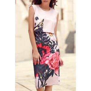 Stylish Round Collar Sleeveless Floral Print Dress For Women - Pink - S