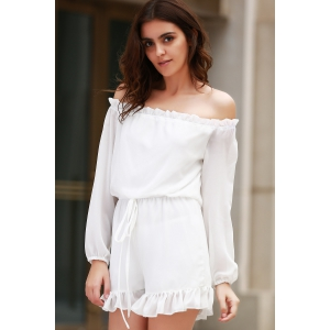 Stylish Off The Shoulder Long Sleeve Solid Color Romper For Women - WHITE S