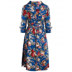 Vintage Style Shawl Collar 3/4 Sleeve Flower Pattern Women's Dress - DEEP BLUE S