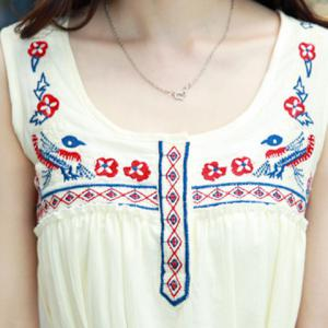 Stylish Scoop Neck Sleeveless Embroidered Midi Dress For Women -