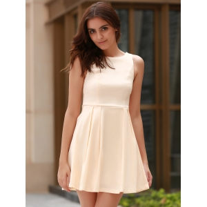 Sexy Round Neck Sleeveless Backless Bowknot Design Dress For Women -