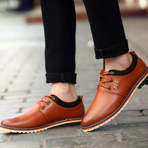 Simple PU Leather and Lace-Up Design Formal Shoes For Men - BROWN 41