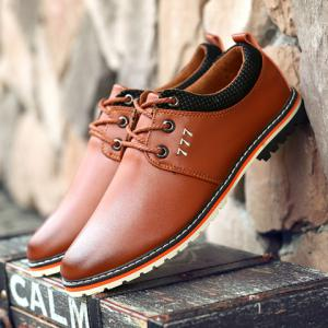 Simple PU Leather and Lace-Up Design Formal Shoes For Men - BROWN 44