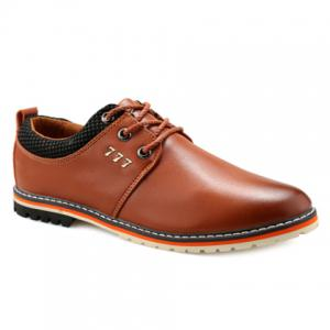 Simple PU Leather and Lace-Up Design Formal Shoes For Men - Brown - 44