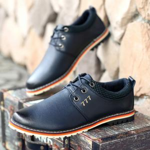 Simple PU Leather and Lace-Up Design Formal Shoes For Men - BLUE 43