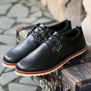 Simple PU Leather and Lace-Up Design Formal Shoes For Men - BLACK 41