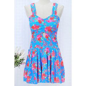 Sweet Spaghetti Strap Sleeveless Floral Print Hollow Out Women's Swimwear -