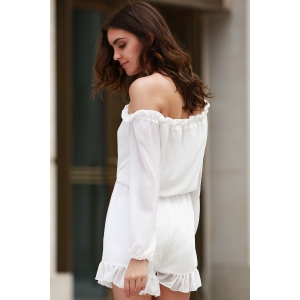 Stylish Off The Shoulder Long Sleeve Solid Color Romper For Women - WHITE L