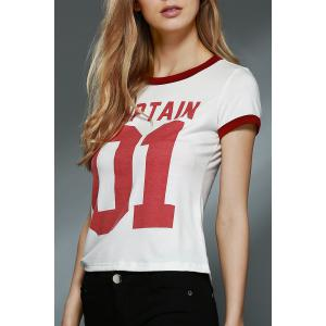 Brief Round Neck Short Sleeve Letter Print T-Shirt For Women