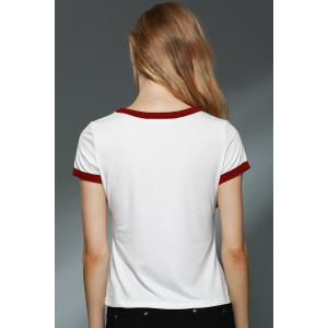 Brief Round Neck Short Sleeve Letter Print T-Shirt For Women - OFF WHITE L