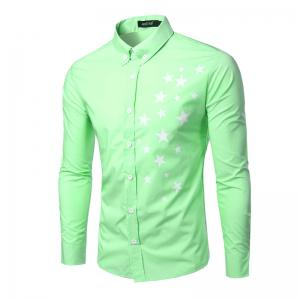 Fashion Turn Down Collar Star Printing Long Sleeves Shirt For Men