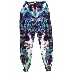 Men's Sports Style Narrow Feet Skull Printed Lace Up Jogging Pants