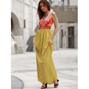 Maxi Print Chiffon Boho Beach Dress - YELLOW S