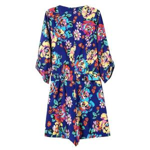 Zip Back Floral Romper with Sleeves - BLUE M
