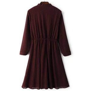 Women's Stylish Lace Shirt Collar Wine Red Long Sleeve Dress -