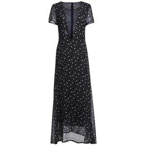 Low Cut Stars Print Maxi Dress for Summer - DEEP GRAY S