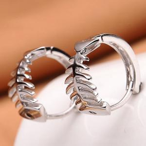Pair of Fishbone Alloy Hoop Earrings -