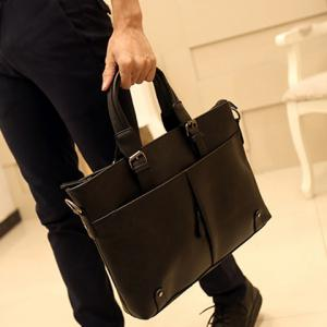 Fashionable Solid Colour and Buckles Design Briefcase For Men - BLACK