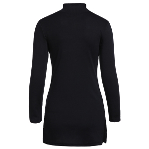 Stylish Turtle Neck Long Sleeves Black Side Slit Women's T-Shirt -