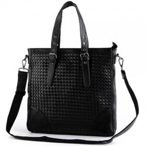 Stylish Black Color and Weaving Design Briefcase For Men -